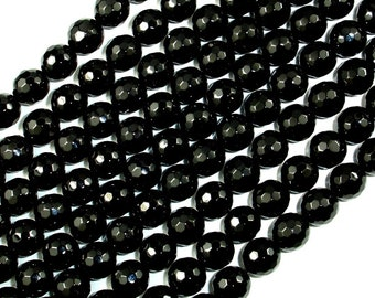Black Onyx Beads, Faceted Round, 8mm, 15.5 Inch, Full strand, Approx 48 beads, Hole 1 mm, AA quality (140025002)