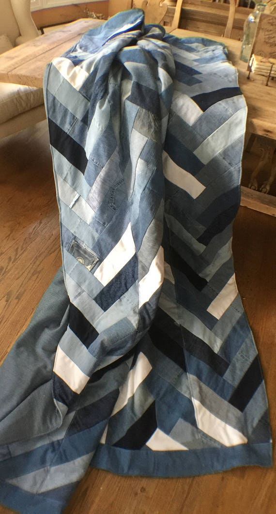 Recycled Denim Chevron, Herringbone, Comforter, Blanket, quilt,Jean, Blue Jean, recycled denim blanket