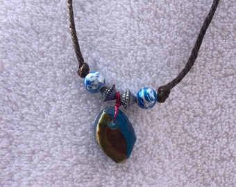 Wood and resin necklace.  Handmade and one of a kind.
