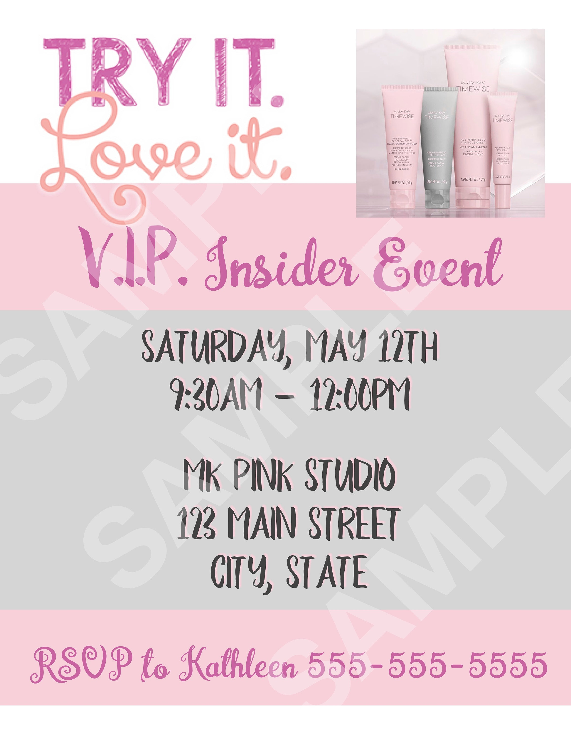 Mary Kay TimeWise Miracle Set 3D Event Flyer