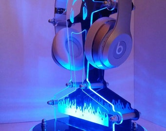 Personalised Headphone Stand Tech Audio Desk Gaming Headset Hanger Stand Acrylic Holder Display with Led Light Techno Technie Techneut Gift