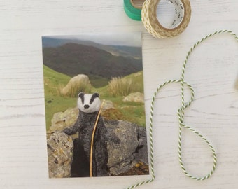 Badger postcard, needle felted badger, stationery, happy mail, snail mail, badger art, travel postcard,