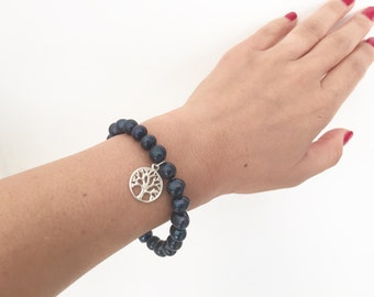 Black pearl beaded bracelet, silver tree if life bracelet, sterling silver bracelet, dainty bracelet, bat mitzvah gift, judaica