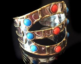 Turquoise SILVER CUFF Bracelet,Tribal Cuff bracelet Large Cuff bracelet ,Womens bracelet ,Holiday Gift,Afghan Silver Cuff bracelet Taneesi