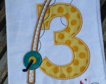 Birthday Number Fishing Pole Fish T-Shirt or Onesie