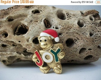 ON SALE Vintage DANCRAFT Joy Christmas Teddy Enameled 101916