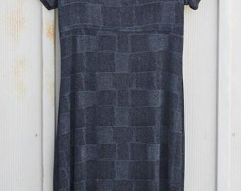 Slinky Black Dress - 90s Grunge Dress - Nylon Dress - 1990s Dress - Vintage Bodycon Dress - Metallic Dress - Mini Dress - Checkered Dress