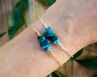 Ships from US - Apatite gemstone bar bracelet - Beaded bar blue apatite bracelet - Apatite bead bar bracelet - Neon apatite jewelry