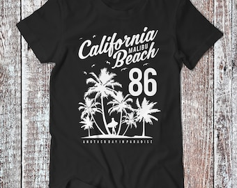 California Malibu Beach , Surfer Tee , Graphic T-shirt , Surfers Shirt
