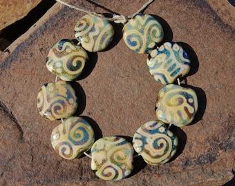 Primitive Stone Raku - K O Lampwork - 9 Beads