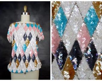 Harlequin Sequin Blouse // Retro Pastel Sequined Top