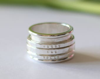 Chunky Sterling Silver Spinning Ring - Personalised