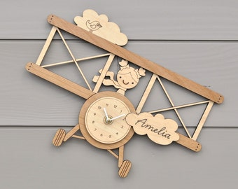 Wooden Airplane Clock Personalized Name Baby Nursery Kids Airplane Theme Wall Decor Boy or Girl