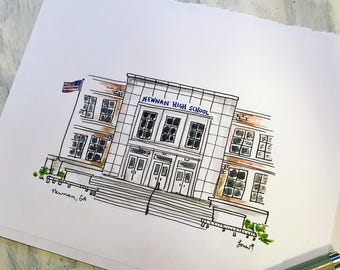 Custom school building, home, or store illustration, Archival Quality 8x10