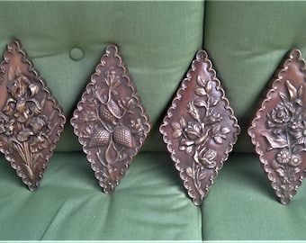 Vintage Chalkware Wall Hangings, Brown and Gold Chalk Plaques, Diamond Shaped Wall Decor, Flowered Pictures, Gift for Her