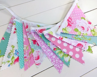 Shabby Chic Nursery Bunting Banner Garland Baby Shower Fabric Bunting Baby Girl Nursery Decor Wedding Pink Flowers Roses
