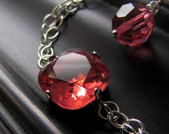 Pink Crystal Bracelet, Padparadscha, Sterling Silver, Bridesmaid Jewelry, Pink Crystal Bracelet, Minimalist Wedding Jewelry