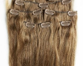 22 inches 7pcs Clip In Human Hair Extensions 10 Light Brown