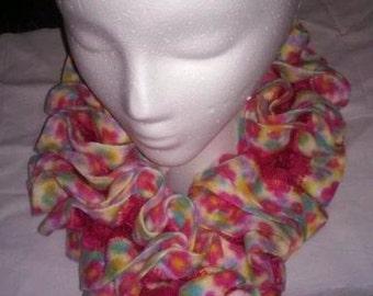 Toddler Ruffle Scarf,  Playful, Pink, Crochet, Little Girl