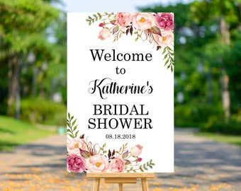 Boho Bridal Shower Welcome Sign Printable, Floral Bohemian Welcome to Bridal Shower Decorations, Pink Flowers, Personalized Sign, B54