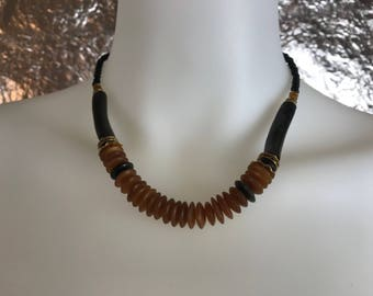 SALE Vintage 1980's Black & Brown Beaded Tribal Necklace