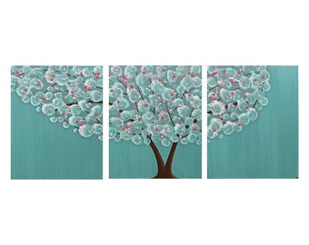 Wall Art for Girl's Room - Tree Painting on Canvas Triptych - Teal and Pink - Medium 35x14