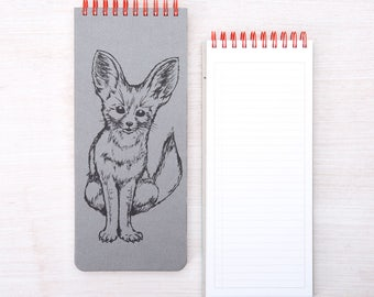 Fox Notebook - To-Do List - Jotter - Hand Screen Printed - Notepad - Fennec Fox
