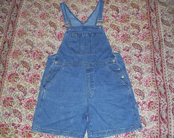 Bib Overalls Gap Hippie Shorts Overalls Vintage 1990s 90s Denim Jeans Cotton Boho Summer Bibs Short-alls Overall Women Adult L