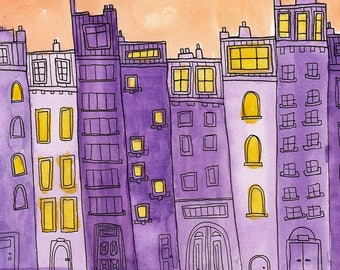 Amsterdam Homes Watercolor Illustration