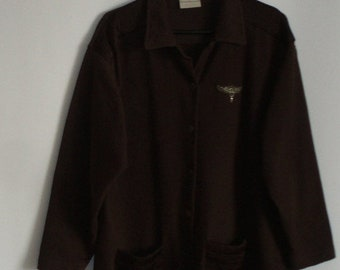 ON SALE Brown Womens Jacket/ Long l Blazer/ Cotton Fabric Jacket / Vintage Jacket Size: 44