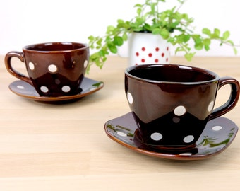 Polka Dot Brown Coffee/Tee Cup Set