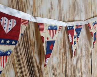 Americana Patriotic Red White and Blue Heart Pennant Banner- Stars and Stripes, Independence Day, 4th of July, USA, America, Bunting