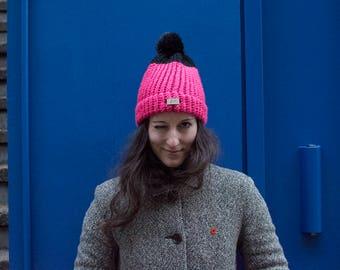 Pink-Black Hat with furry pom pom