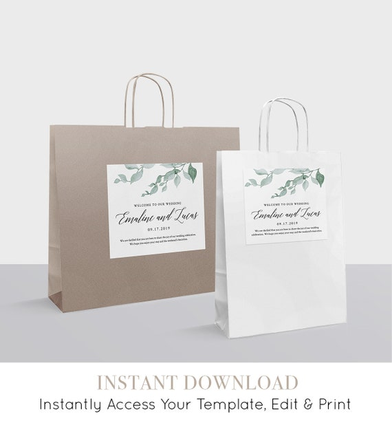 Welcome Bag Label Printable, Hotel Bag Sticker, Welcome Box Label Template, Watercolor Greenery Wedding, INSTANT DOWNLOAD, DIY #019-102WBL