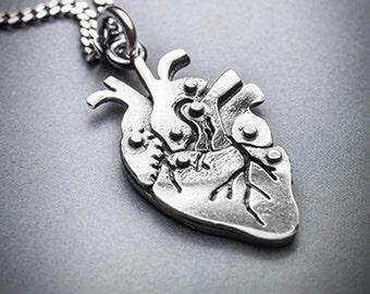 Mini CARDIO silver anatomical heart necklace