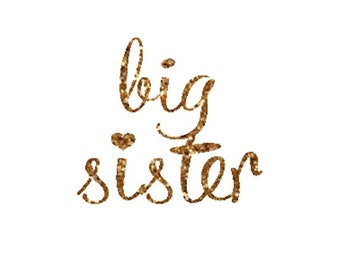 Big Sister Iron On Decal, Glitter Iron On Letters, DIY Big Sister Iron On