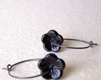 Black Flower Earrings - vintage black glass flower beads - hoop earrings