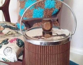 Nice Wood and Chrome Ice Bucket