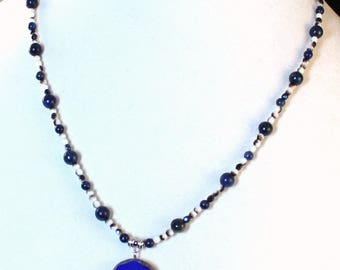 My Blue Heart Lapis Lazuli Crystal Druzy Heart Necklace