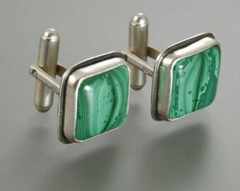 Cuff Links, malachite cufflinks, handmade cufflinks,silver cufllinks,malachite,malachite jewelry,mens jewelry, sterling, father's day