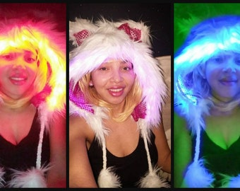 LightUp Heyo Kitty Faux Fur Hood (RGB LED light optional)