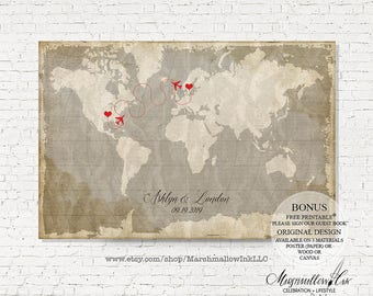 Wedding Guest Book Alternative Wedding Signs, Wedding Guest Book Map Wedding Guestbook Map Destination Wedding Gift Guest Book Keepsake