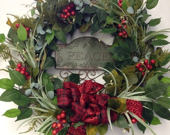 Holiday Wreath-Christmas Wreath-Peace Sign-Christmas Decoration-Holly Wreath-