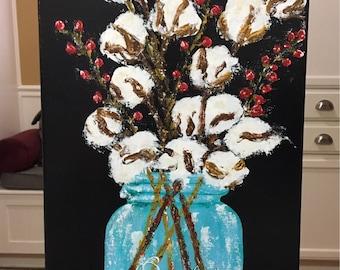 Cotton Boll Painting, acrylic painting, cotton boll stems, cotton art, cotton boll decor, farmhouse art
