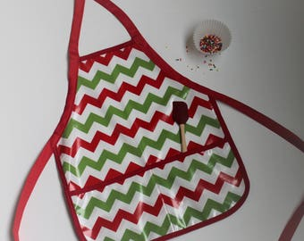 Kids Christmas Apron Childrens Waterproof Apron in Red and Green Chevrons