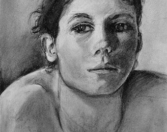 """Original art. Charcoal portrait of woman black and white, vivid and expressive drawing by Vernon Grant 11"""" x 14"""" on charcoal paper, Bemused"""