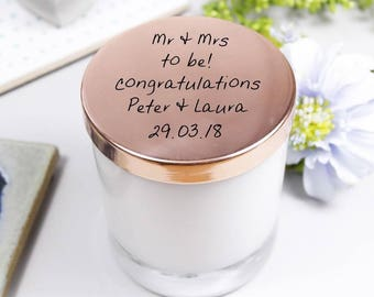 Engagement Candle With Lid - Engagement Candle - Scented Candle - Personalised Candle - Candle With lid - Soya Wax Candle