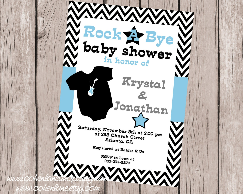 Rock a Bye Baby Shower Invitation. Rock star baby shower