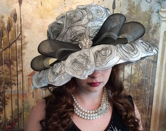 Black and White Rose Hat