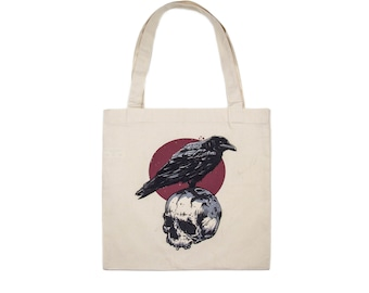 Raven and Skull Cotton Tote Bag
